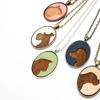 Pet Portrait Pendant - Custom Animal Silhouette Laser Engraved in Wood Cameo Necklace - Gift Idea (Choose Your Color)