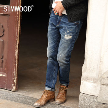 SIMWOOD New Autumn Winter Jeans Men Causal Fashion Trouser Denim Pants Male Patchwork Hole