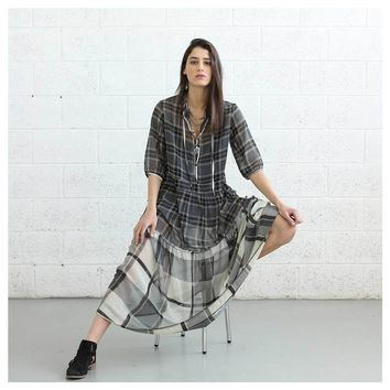 Sheer Plaid Maxi Dress