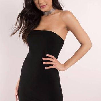 SIDE TO SIDE STRAPLESS BODYCON DRESS