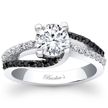 Barkev's White & Black Swirl Diamond Engagement Ring