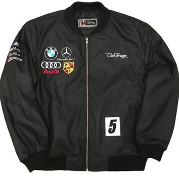 ONETOW Club Foreign PU Leather Racing Jacket In Black