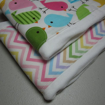 Zigzags and Little Birdies Burp Cloth Diapers  by adrisadorables