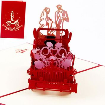 3D Pop Up Vintage Car Greeting Card Wedding Valentine Birthday Invitation