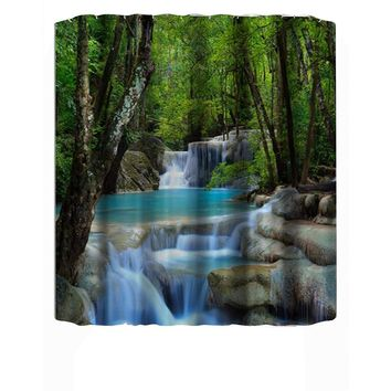 3D Waterfall Scenery Waterproof Shower Curtain Bathroom Products Creative Polyester Bath Curtain cortina de bano with 12 Hooks