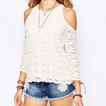 Hollister Cold Shoulder Lace Top