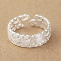 vintage 925 silver hollow out ring men womens adjustable ring gift 38