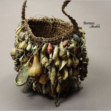 Old Bilum Bag Papua New Guinea Ceremonial Bag Mixed Shells Vintage Oceanic Collectible