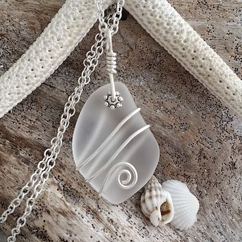 "Handmade in Hawaii, ""April Birthstone"" wire wrapped Crystal sea glass beach glass necklace, Sterling Silver Chain"