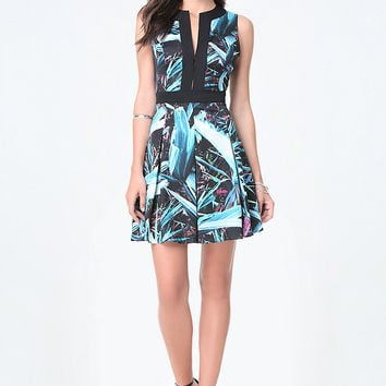 PRINT BOX PLEAT DRESS