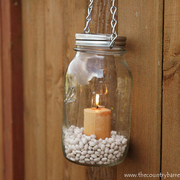Hanging Mason Jar Tea Light Lantern