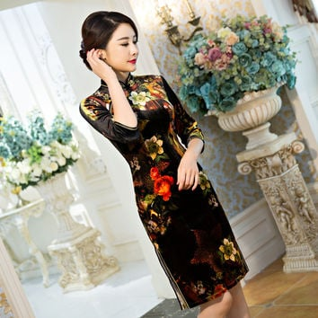 Velvet Dress Women Winter 2016 Flora Print Chinese Traditional Dress Half Sleeve Cheongsam Qipao Short Chinese Oriental Dresses