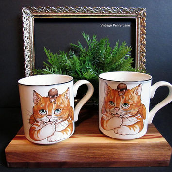 Vintage Arthur Wood Mugs, Coffee Cups, Cat and Mouse, Made in England, Ceramic Mug Set
