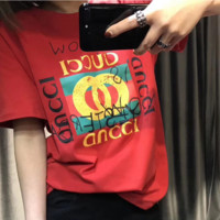 GUCCI 2018 new pure cotton fashion 100 women T-shirt long-sleeved short sleeves F-ZYHFS Red