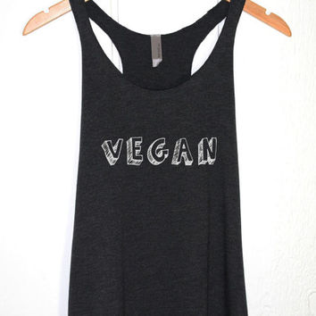 VEGAN Tank Top in Heather Black-Vegetarian Shirt-Veggie Tee T-shirt Tshirt-Graphic Shirt-Gym Yoga Fitness Workout Tops-Attitude-Cup of tee