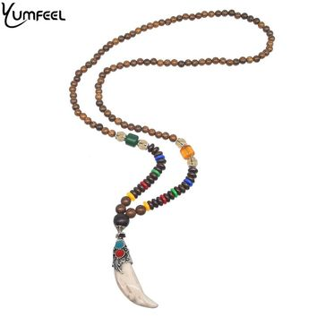 Yumfeel Nepal Buddhist Mala Wood Beads Horn Necklaces