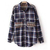 Knitted Patchwork Checked Shirt