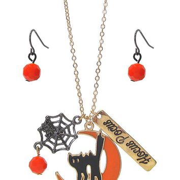 Halloween Necklace Set - Spider and Cat