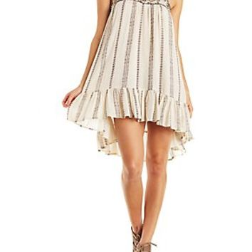 EN CREME BEADED RUFFLE SHIFT DRESS