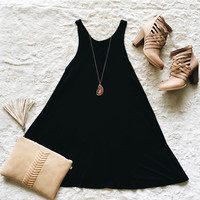 A Racerback Swing Dress in Black