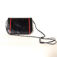 Vintage Black Leather & Snakeskin Envelope Purse by Neiman Marcus