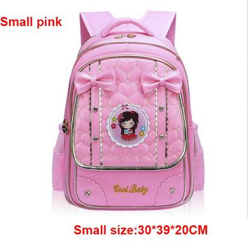 School Backpack Coolbaby Bow Children Backpack Schoolbags PU Leather 1-3-5-6 Grade School Bags Portfolios For Teens Brand Girl School Bags P699 AT_48_3