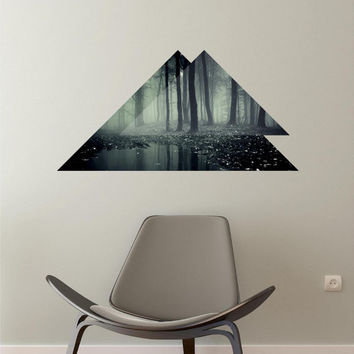 Forest Puddle Two Toned Exposure Triangle Mural Panoramic Wall Decal Vinyl Sticker Removable Reusable Trees Modern Home Office Bedroom Decor