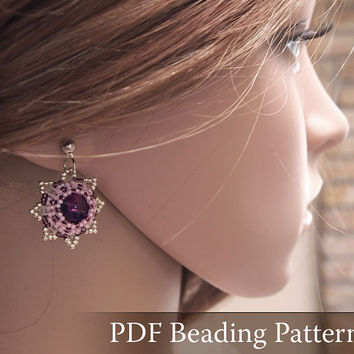 Beading pattern Squill Earrings, Swarovski Rivoli earrings tutorial, vintage style earrings pattern, star earrings, flower earrings, PDF