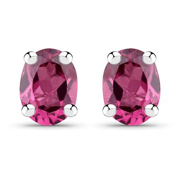 Natural Magenta Rhodolite Stud Earrings