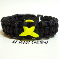 Support Our Troops Paracord Survival Bracelet Black with Yellow Ribbon