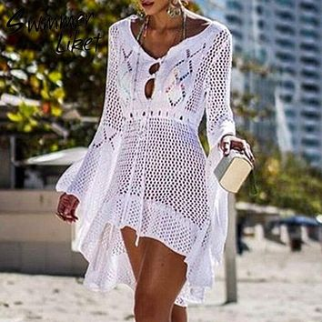 New fashion knitted tunic dress women White swimsuit covre-ups Hollow out beach cover up skirt Summer 2019 beach sarong de plage