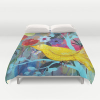 Golden Yellow Bird Duvet Cover by Robin Maria Pedrero