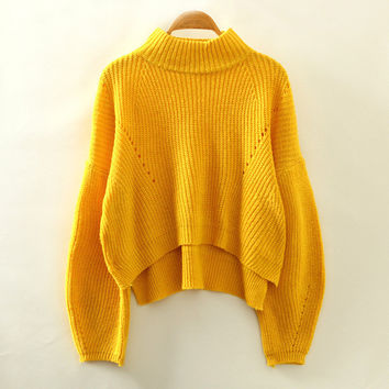 Yellow Turtleneck Knitted Sweatshirt