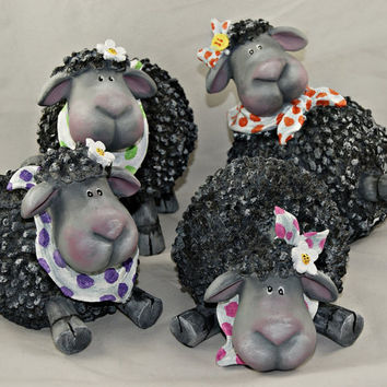 Home Decor Hand Painted Resin Sheep Figurine, Each Statue Sold Separately, Part of Sale Proceeds Supports Animal Rescue
