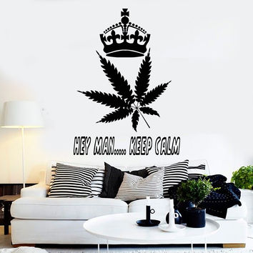 Vinyl Wall Decal Hippie Quote Weed Cannabis Rastafarian Stickers (ig3935)