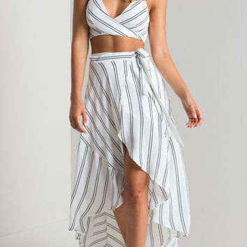 Stripe Top &Irregular Skirt Two Piece B005823