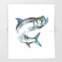 Tarpon Fish Throw Blanket by Allison Reich