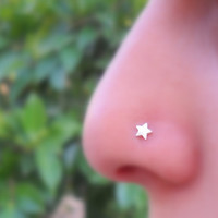 Star Nose Ring Stud Sterling Silver by Holylandstreasures on Etsy