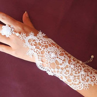 New Hot Sale Fashion Pearl Lace Wedding Bride Bridal Gloves Ring  Accessories Jewelry White (Color: White) = 1929696004