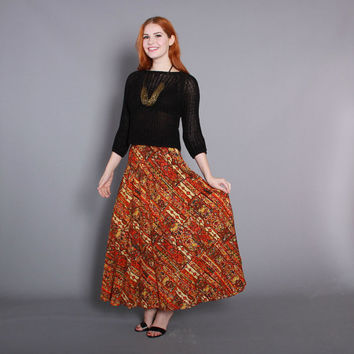 70s Ethnic MAXI SKIRT / 1970s PLEATED Indian Print Skirt, xs
