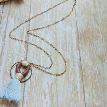 Tassel Necklace, Tassle Jewelry, Geometric Necklace, Long Necklace Boho, Minimalist Jewelry, Modern Minimalist, Long Necklace Pendant