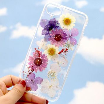 Pressed Flower Case Real Dried flowers phone case LIMITED-Tanacrafts Phone Cover for iPhone 7 7Plus & iPhone se 5s 6 6 Plus