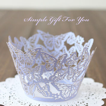 12 pcs Wedding / Party Lace Cupcake Wrappers - Butterfly - Pink / White / Light Purple