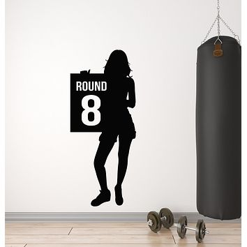Vinyl Wall Decal Silhouette Ring Girl Round Eight Boxing Martial  Stickers Mural (g701)