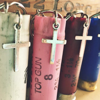 Shotgun Shell Keychain with Cross Pendant Charm {Hunting theme}