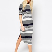 ASOS Midi Column Dress in Varigated Stripe at asos.com