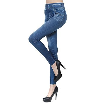 New 2017 Women Autumn Jeans Leggings Skinny Slim Thin High Elastic Waist Pencil Pants Black Denim Leggings For Women Apparel
