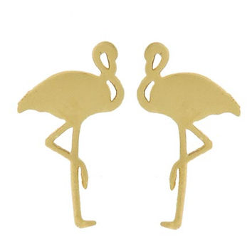 Adorn by LuLu - Tiny Gold Flamingo Stud Earrings