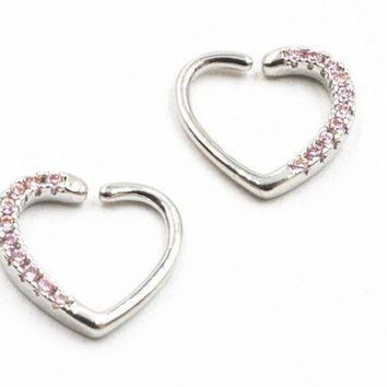 ac PEAPO2Q 20pcs/lot Free Shipping  Silver/Gold Punk Open Hoop Heart Shape Nose Ring Earring Diath/Helix/Cartliage Body Piercing Jewelry