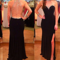 Backless Prom Dresses, Black Prom Dresses, Backless Evening Dresses, Prom Formal Dresses